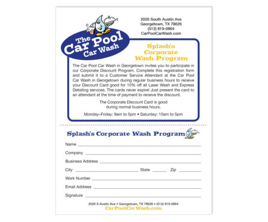 Car Pool Car Wash form designed by Dan Poore