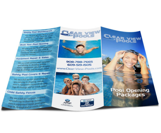 Clear View Pools brochure designed by Dan Poore