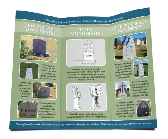 Our Lady of the Rosary monument brochure designed by Dan Poore