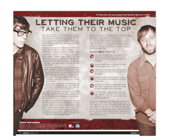 The Black Keys article for Applause designed by Dan Poore