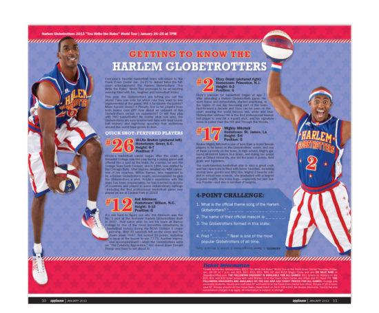 Harlem Globetrotters spread designed by Dan Poore