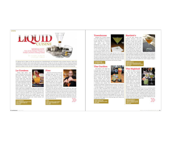 Liquid Cuisine article for Austin Woman Magazine designed by Dan Poore