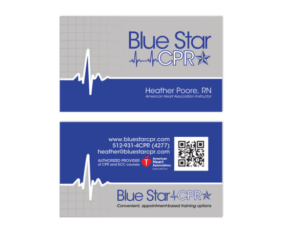 Blue Star CPR business card designed by Dan Poore