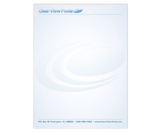 Clear View Pools letterhead designed by Dan Poore