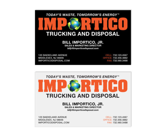 Importico Disposal business card designed by Dan Poore