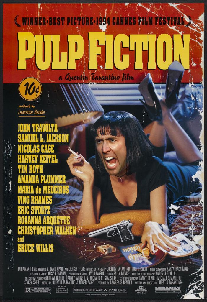 Nicolas Cage in Pulp Fiction as Mia Wallace