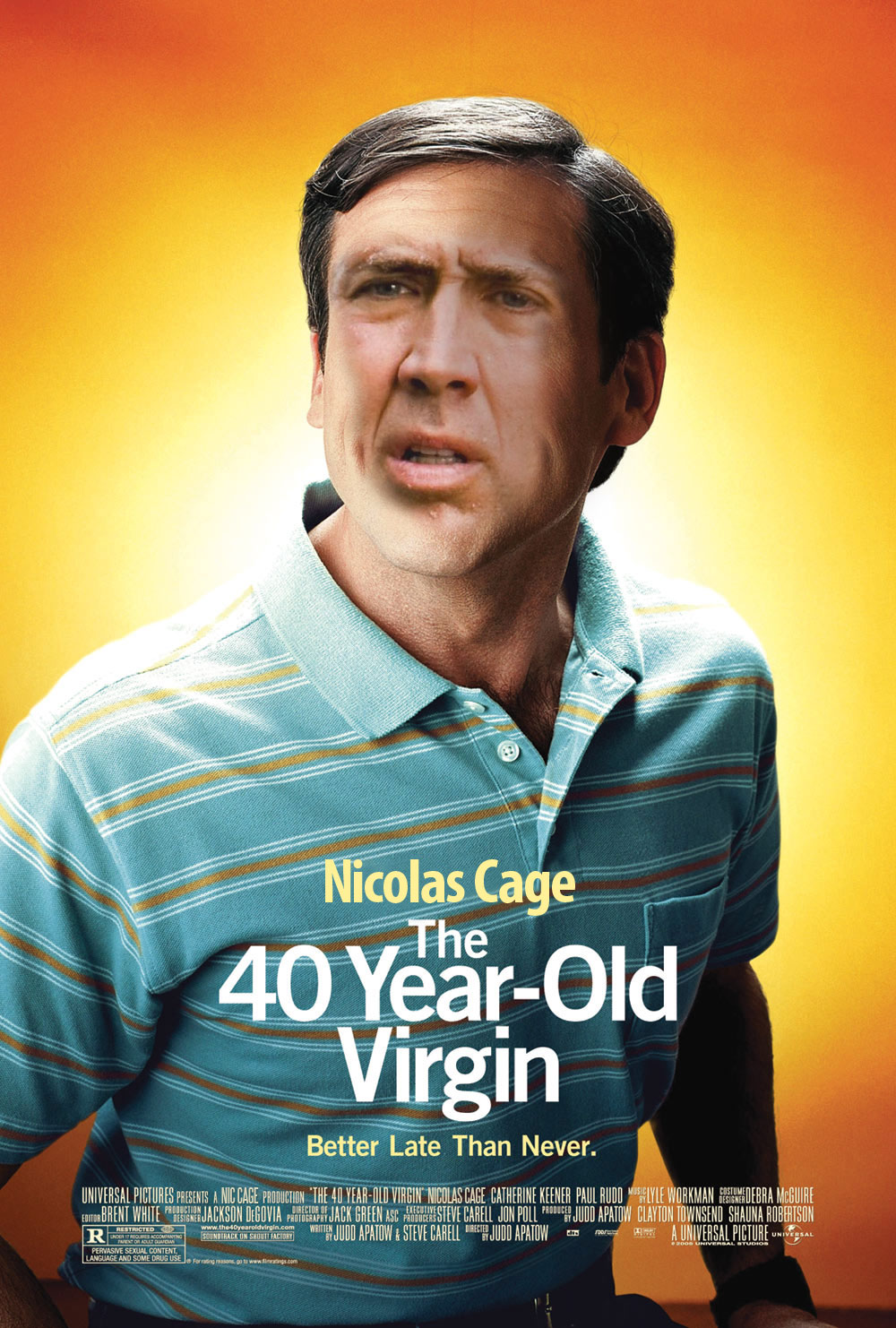 Le Cage Is Folly - Nicolas Cage as The 40 Year-Old Virgin
