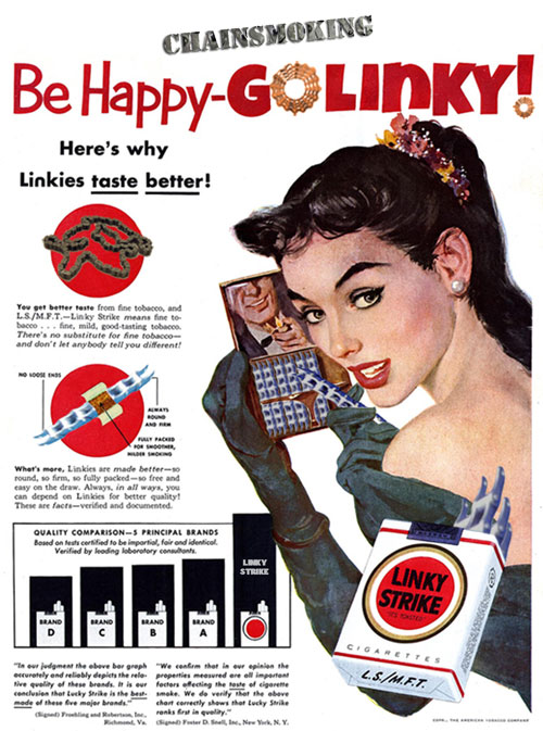 Linky Strike Chain Smoking Ad