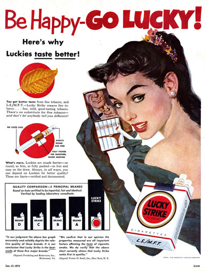 Lucky Strikes ad from the January 29, 1952 issue of Look magazine